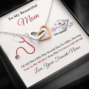 Nurse to Mom - The Greatest Gift of All - Interlocking Heart Necklace
