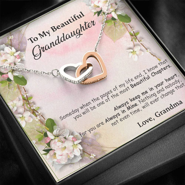 To My Granddaughter - The Most Beautiful Chapters - Interlocking Heart Necklace