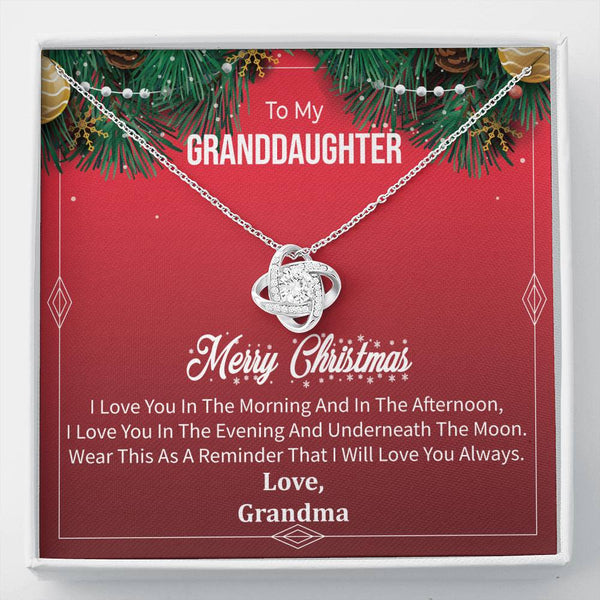 To My Granddaughter - I Will Love You Always (Christmas) - Love Knot Necklace
