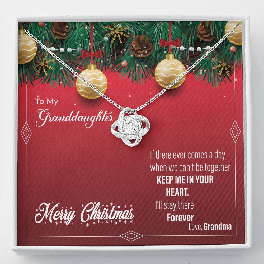To My Granddaughter - Keep Me In Your Heart (Christmas) - Love Knot Necklace
