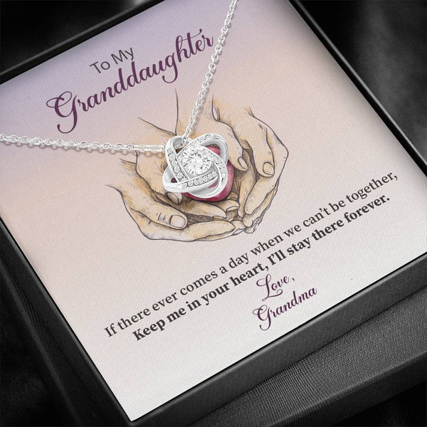 To My Granddaughter - Keep Me In Your Heart - Love Knot Necklace