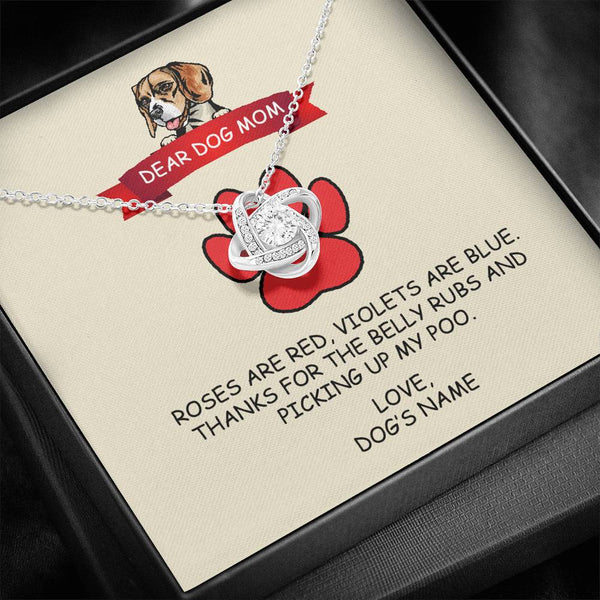 Beagle - Dog Mom - Thanks For The Belly Rubs - Love Knot Necklace