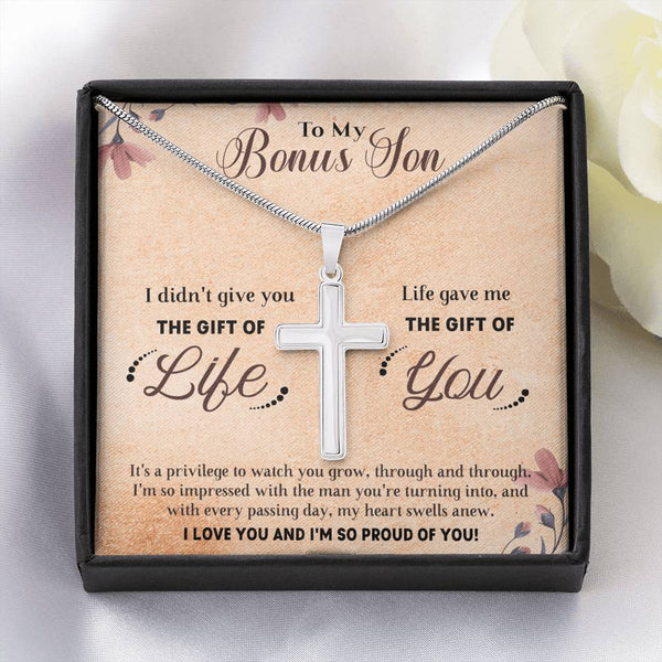 To My Bonus Son - Life Gave Me The Gift of You - Cross Necklace