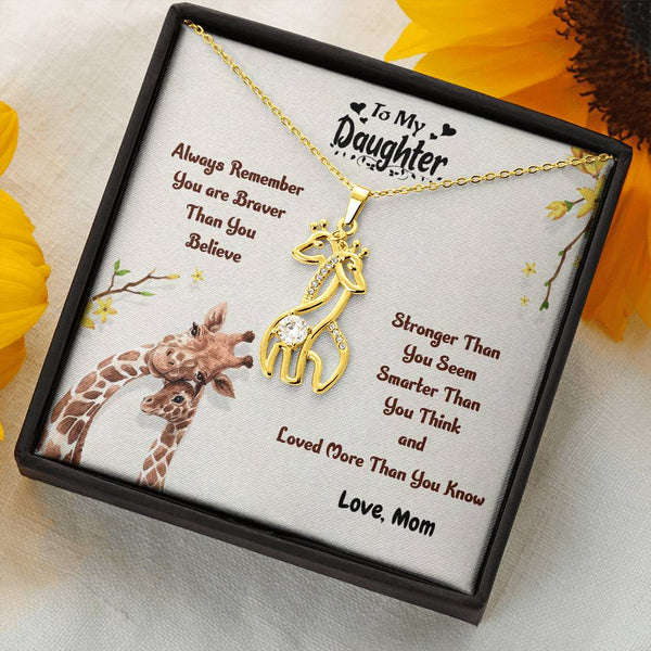 Mom to Daughter - You Are Loved More Than You Know - Giraffe Necklace