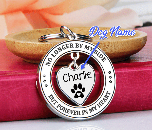 No Longer By My Side Forever in My Heart Dog Remembrance Keychain