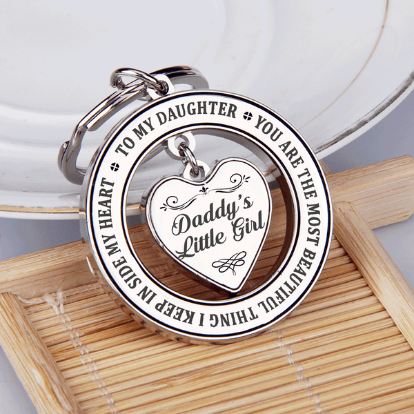 Daddy's Little Girl Heart in a Circle Keychain