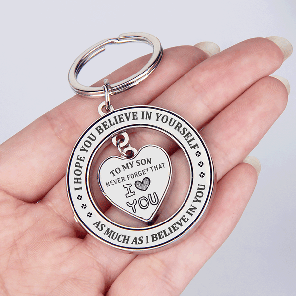 To My Son - Never Forget That I Love You Heart in Circle Keychain