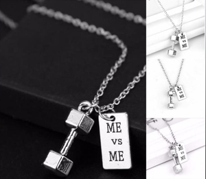 DUMBBELL + ME & ME Motivation Necklace