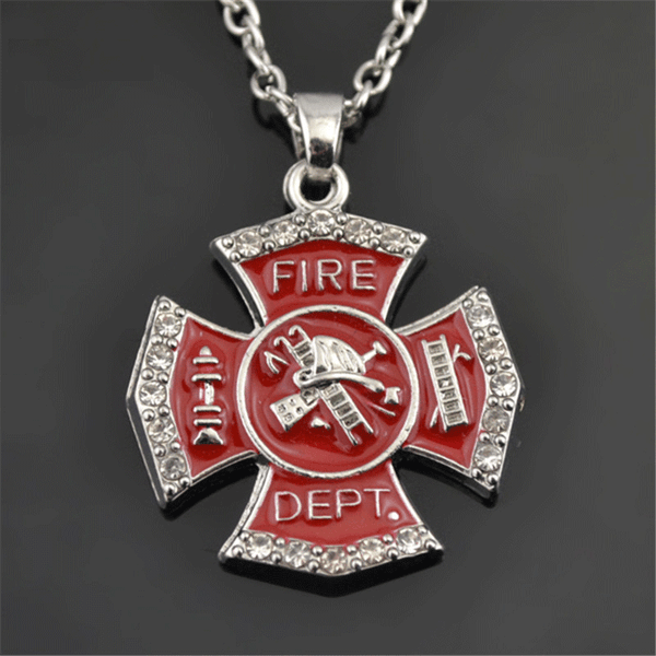 Firefighter Pendant Statement Necklace