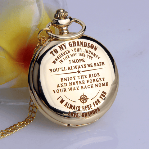 Grandpa to Grandson - I Hope You'll Always Be Safe - Pocket Watch