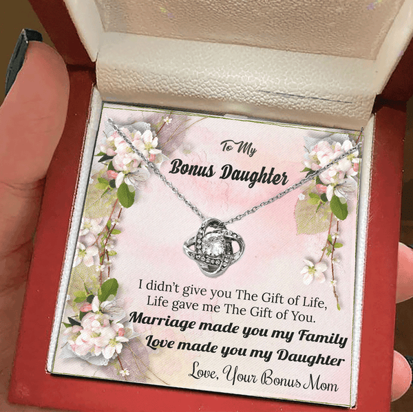To My Bonus Daughter - Love Made You My Daughter - Luxury Love Knot Necklace