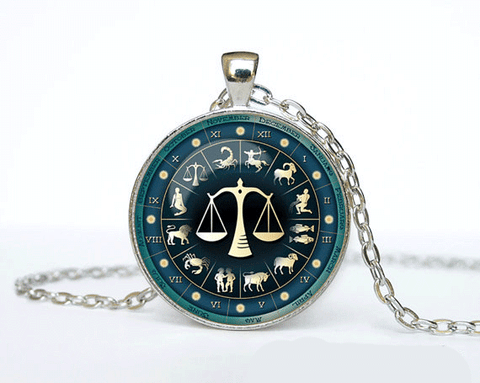 Libra Zodiac Necklace Pendant