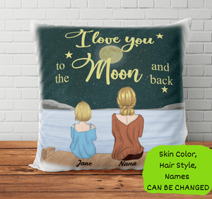 Personalized Pillow - I Love You To The Moon and Back (Girl)