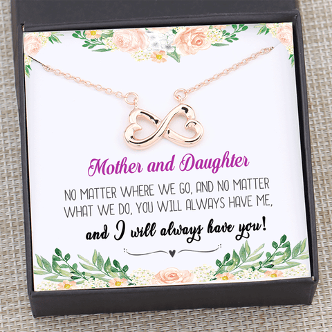 Mother Daughter No Matter Where No Matter What Infinity Necklace Gift Box