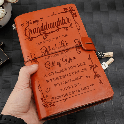 Granddaughter Life Gave Me Gift of You Leather Journal