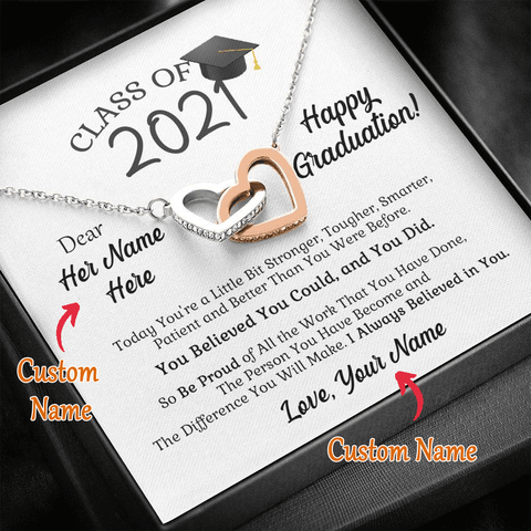 Personalized Name - Class of 2021 You Believed You Could - Interlocking Heart Necklace