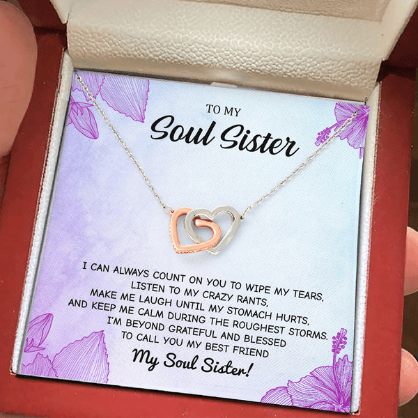 To My Soul Sister - Always Count On You - Interlocking Heart Necklace