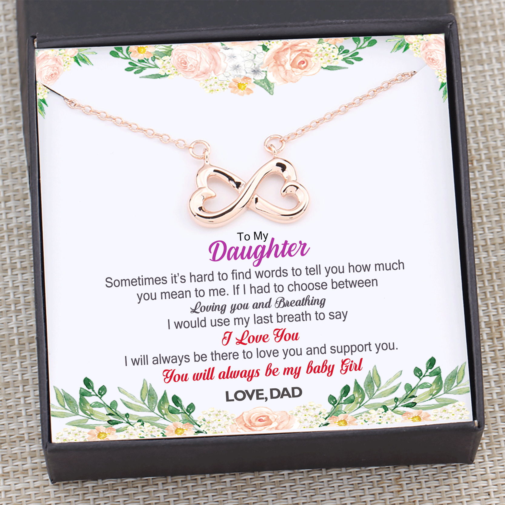 Dad to Daughter - You Will Always Be My Baby Girl Necklace Gift Box