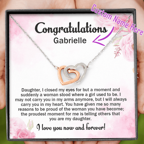 Graduation Gift For Daughter - I Will Always Carry You in My Heart - Personalized Name Necklace