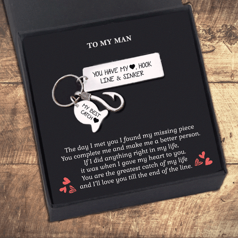 My Man You Have My Heart Hook Line and Sinker Keychain Gift Box