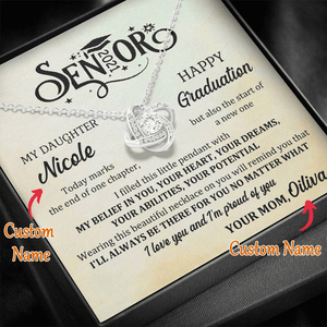 Personalized Name - Senior 2021 Gift From Mom - Love Knot Necklace