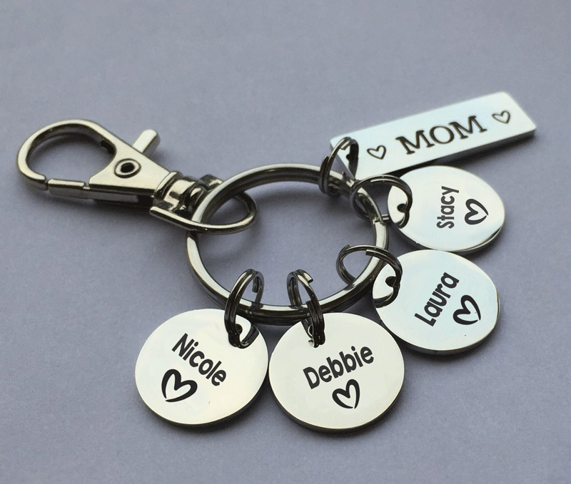 Personalized Keychain With Multiple Names