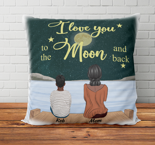 Personalized Pillow - I Love You To The Moon and Back (Boy)