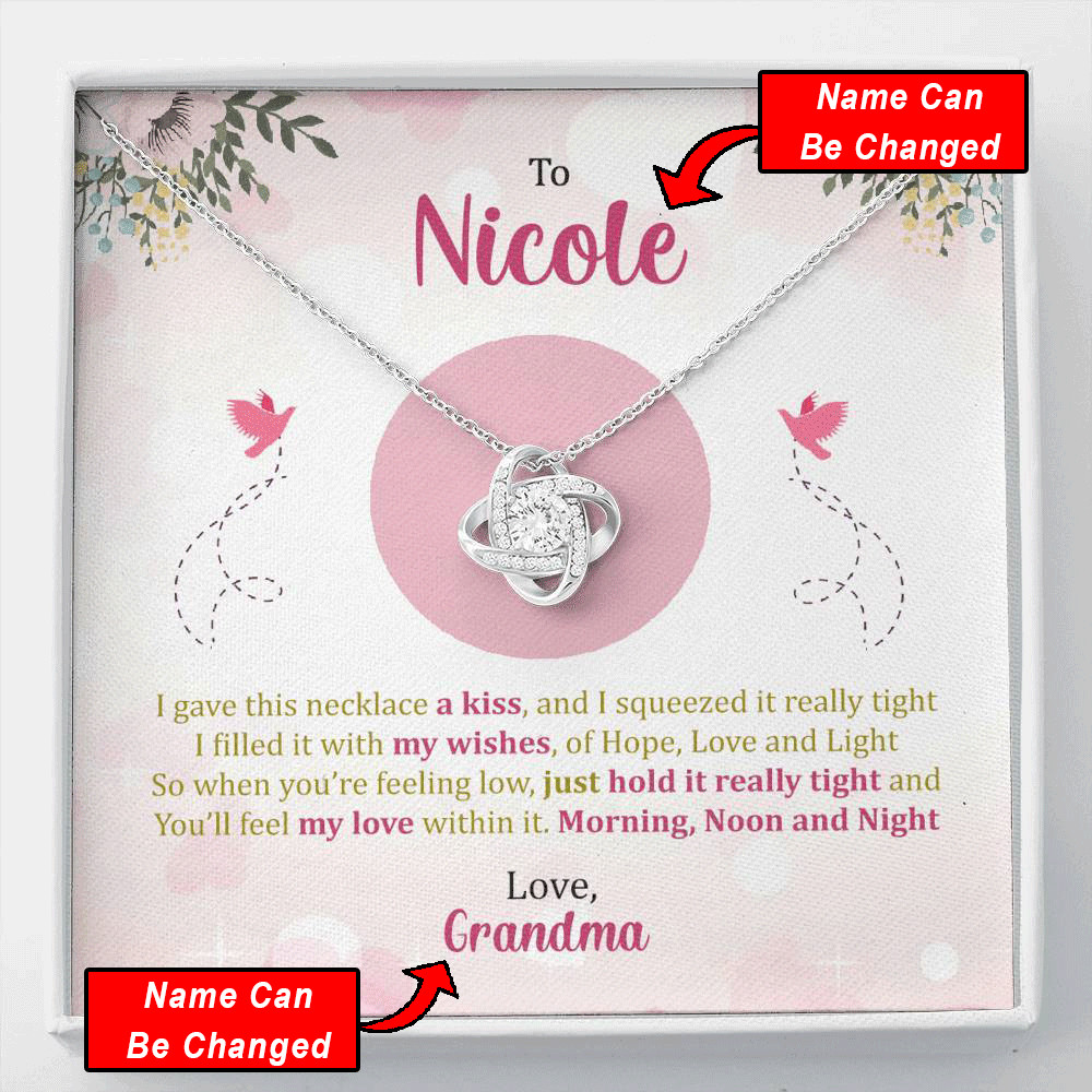 Personalized Name - I Gave This Necklace A Kiss - Love Knot Necklace