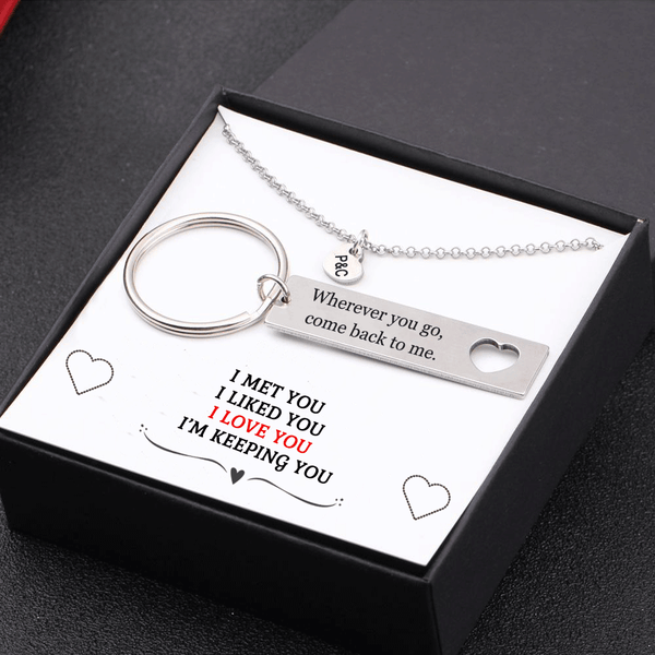 I Love You I'm Keeping You Keychain and Heart Necklace Gift Box