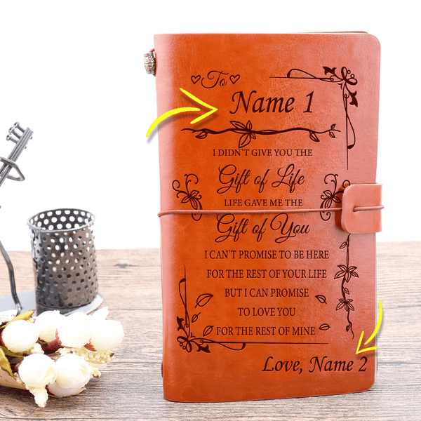 Personalized Name Life Gave Me Gift of You Leather Journal