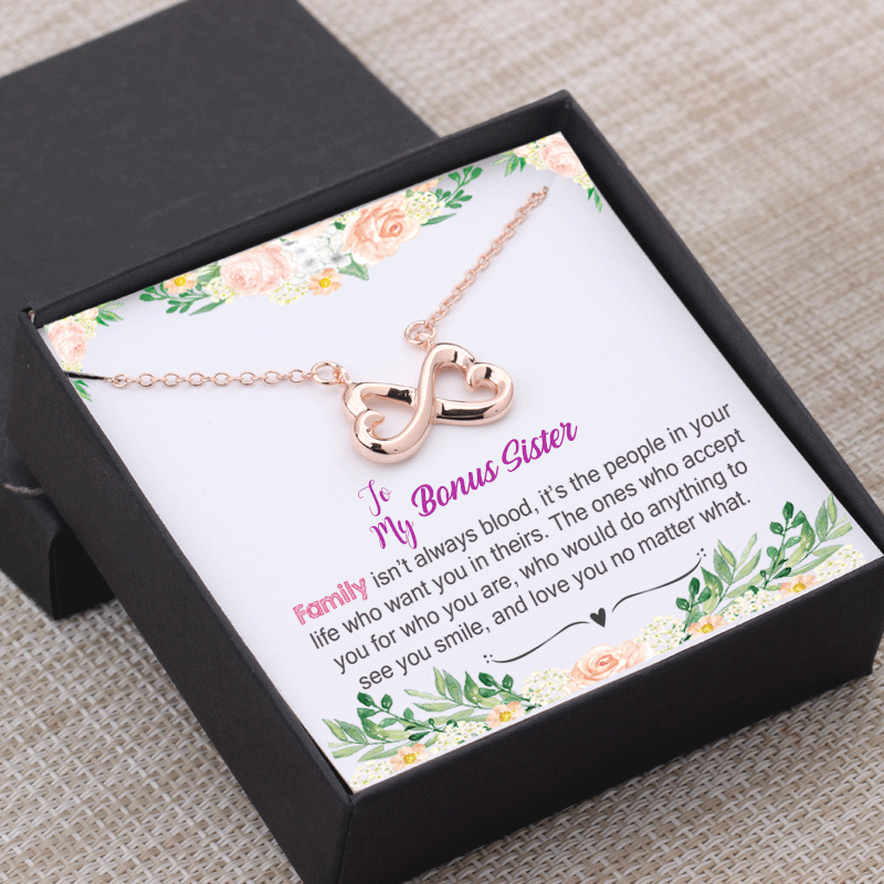 Bonus Sister Gift Family Isn T Always Blood Necklace Gift Box