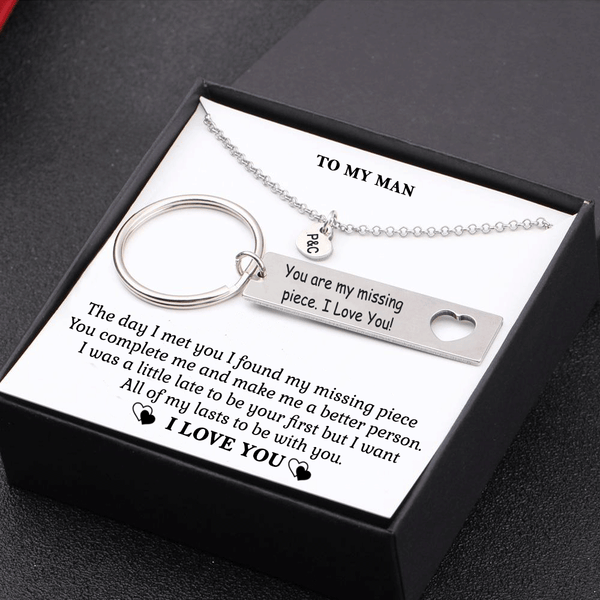 My Man You Are My Missing Piece Keychain and Heart Necklace