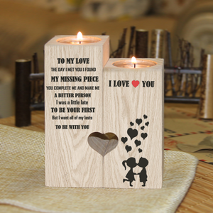 To My Love You're My Missing Piece Engraved Candle Holder
