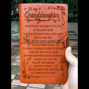 To My Granddaughter Never Forget How Much I Love You Leather Journal