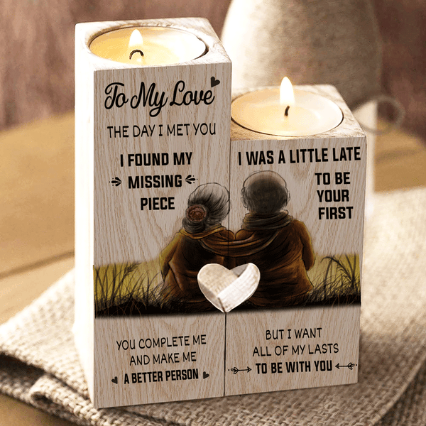 To My Love You're My Missing Piece (With Couple Image) - Candle Holder