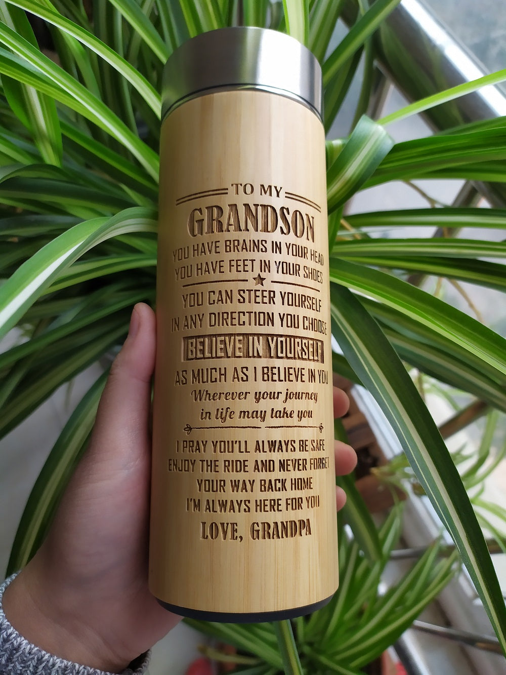 Grandpa to Grandson - I'm Always Here For You Engraved Bamboo Vacuum Water Bottle