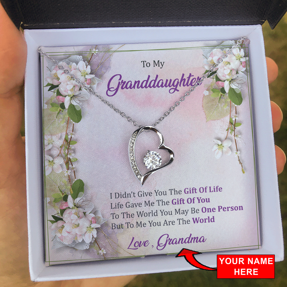 To My Granddaughter - To Me You Are The World - Forever Love Necklace