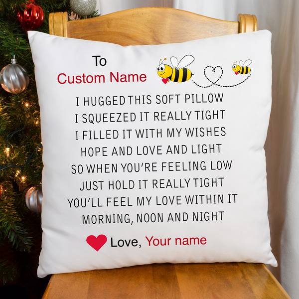 Personalized Name - I Hugged This (Bee Version) - Pillowcase