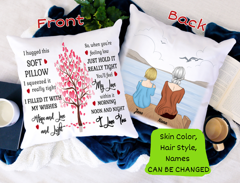 Personalized Pillow - Grandma to Granddaughter I Hugged This Pillow