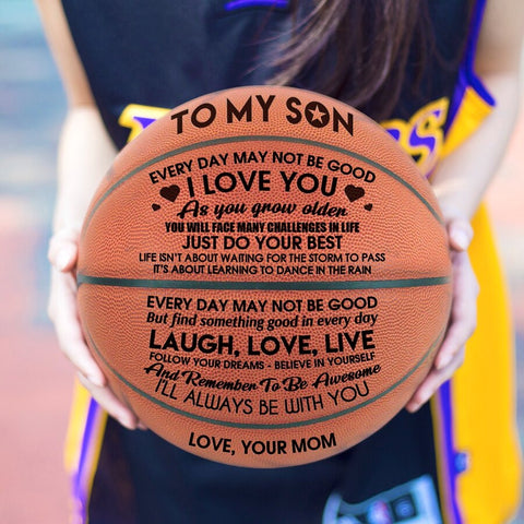 Mom to Son I'll Always Be With You Engraved Basketball