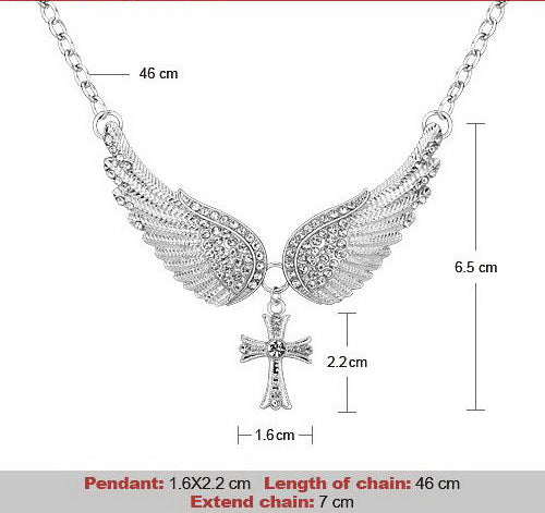 Angel Wing with Cross Necklace