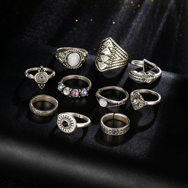 Boho-Chic Rings - 10 Pieces/Set