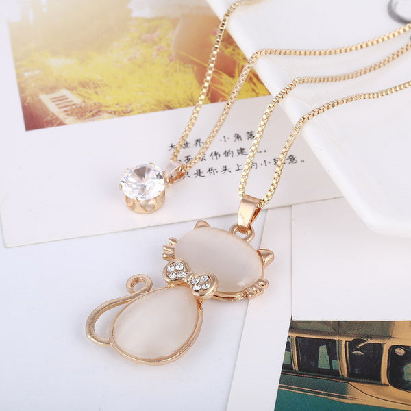 Lucky Cat Eye Stone Cute Kitty Pendant Necklace