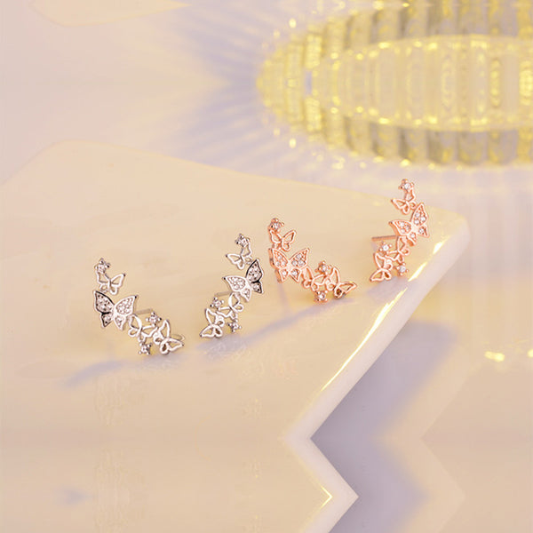 Butterfly Stud Earrings - 925 Sterling Silver
