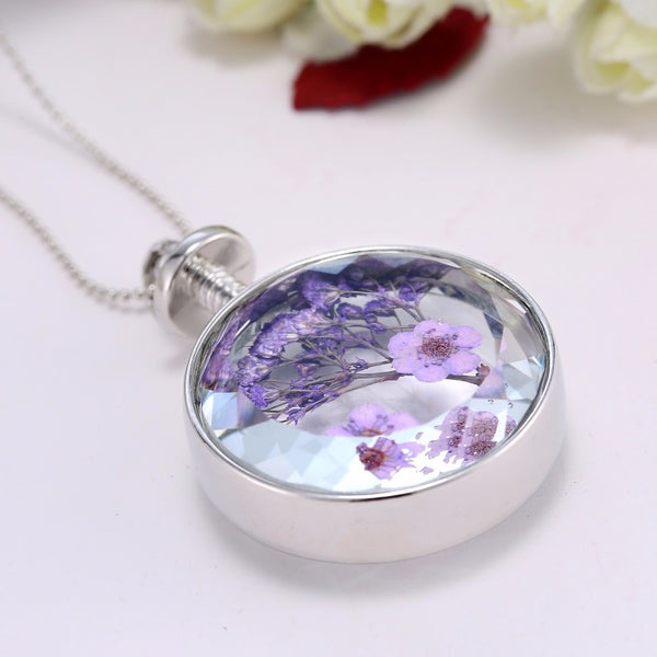 Natural Dried Flower Pendant Necklace