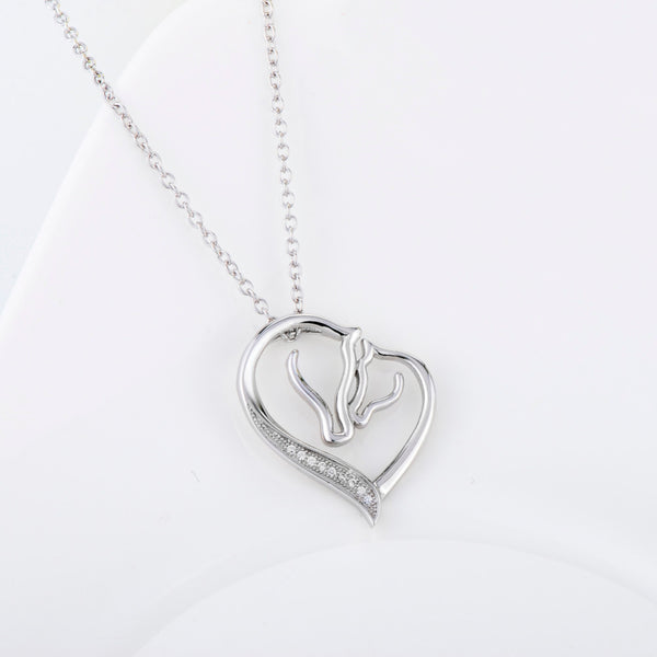 Mother and Baby Horse Head Heart Shape Pendant Necklace