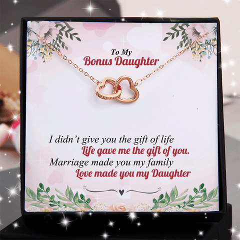 To My Bonus Daughter - Love Made You My Daughter Double Heart Necklace