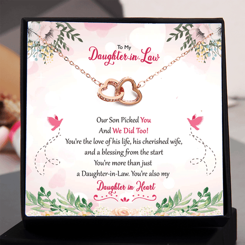 Daughter in Law Gift - Our Son Picked You and We Did Too Double Heart Necklace