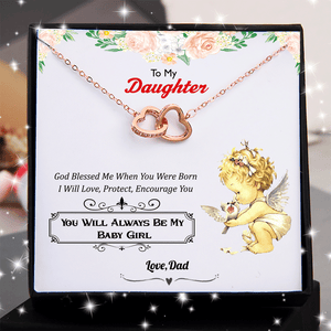 Dad to Daughter - God Blessed Me When You Were Born - Double Heart Necklace