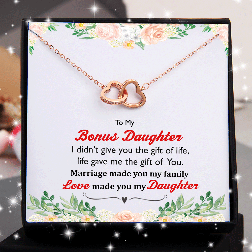 To Bonus Daughter - I Didn't Give You Gift of Life Double Heart Necklace